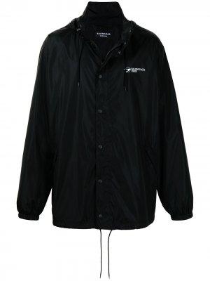 Куртка с капюшоном и логотипом Balenciaga. Цвет: черный