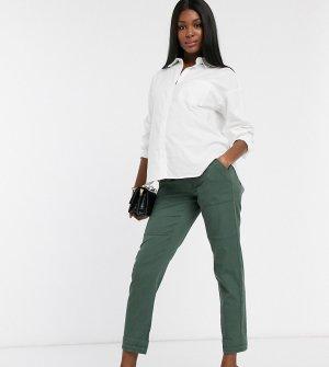 Зеленые брюки карго с посадкой над животом Maternity-Зеленый Bandia