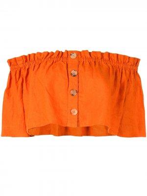 Укороченный топ с открытыми плечами Venroy. Цвет: оранжевый
