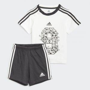 Комплект: шорты и футболка Lil 3-Stripes Sporty Summer Performance adidas. Цвет: черный