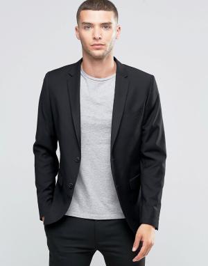Однобортный пиджак слим Sisley. Цвет: черный