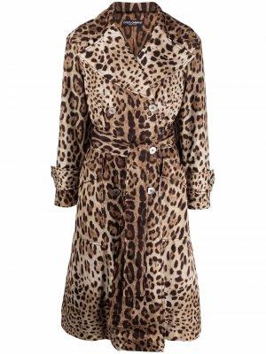 Leopard-print belted trench coat Dolce & Gabbana. Цвет: коричневый