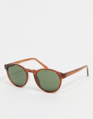 Черные круглые солнцезащитные очки в стиле унисекс Marvin-Коричневый цвет A.Kjaerbede