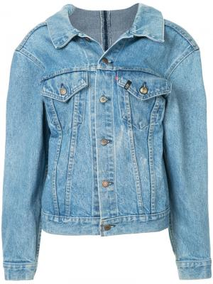 Джинсовая куртка с молнией на спине R13. Цвет: синий