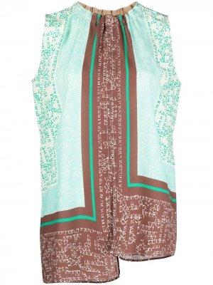 Блузка асимметричного кроя без рукавов Alysi. Цвет: зеленый
