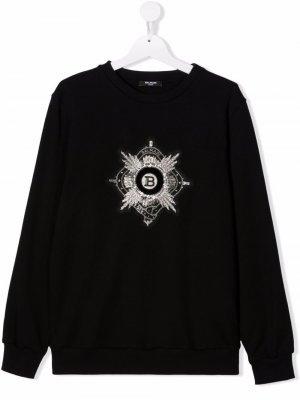 TEEN logo-embroidered cotton sweatshirt Balmain Kids. Цвет: черный