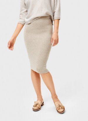 Двухсторонняя вязаная юбка миди O`Stin. Цвет: бежевый
