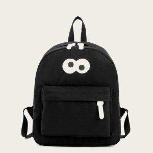 Рюкзак для мальчиков с мультипликационным рисунком SHEIN. Цвет: чёрный