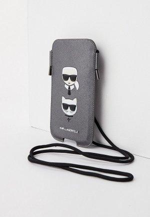 Чехол для iPhone Karl Lagerfeld Pouch, PU Saffiano & Choupette Silver (M size). Цвет: серебряный