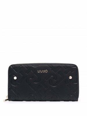 Кошелек с логотипом LIU JO. Цвет: черный