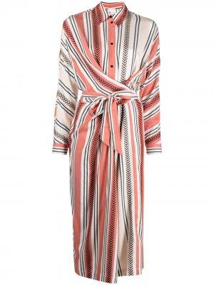 Полосатое платье-рубашка с запахом Lala Berlin. Цвет: красный