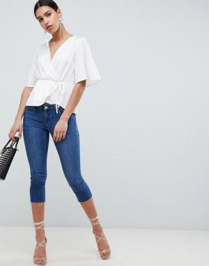 Синие джинсы скинни с заниженной талией -Синий ASOS DESIGN