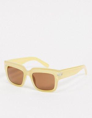 Светлые солнцезащитные очки в крупной квадратной оправе -Белый AJ Morgan