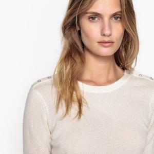 Пуловер, 100% кашемир, вырез сзади LA REDOUTE COLLECTIONS. Цвет: экрю