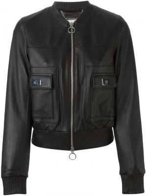 Кожаная куртка-бомбер Michael Kors. Цвет: чёрный