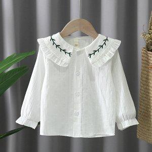 Для девочек Блуза с воротником питер пэн рукавами-фонариками SHEIN. Цвет: белый
