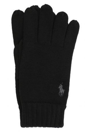 Шерстяные перчатки Polo Ralph Lauren. Цвет: черный