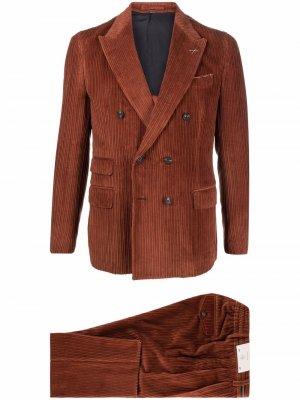 Вельветовый костюм с двубортным пиджаком Eleventy. Цвет: коричневый