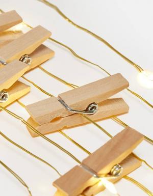 Гирлянда с деревянными зажимами ЖЕНСКАЯ КОЛЛЕКЦИЯ Цвет небеленого полотна 103 Stradivarius