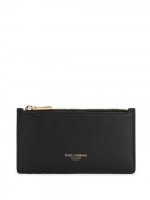 Картхолдер с логотипом Dolce & Gabbana. Цвет: черный