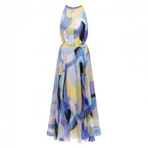 Шелковое платье Emilio Pucci. Цвет: синий