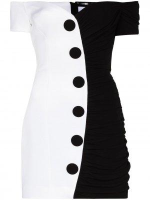 Платье мини с открытыми плечами Balmain. Цвет: черный