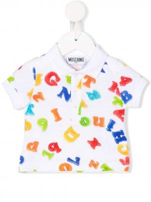 Рубашка-поло с принтом Moschino Kids. Цвет: белый