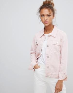Розовая джинсовая куртка с вышивкой волка Waven. Цвет: розовый