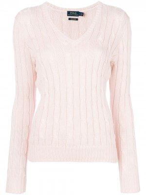 Джемпер вязки с косичками V-образной горловиной Polo Ralph Lauren. Цвет: розовый