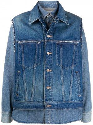 Многослойная джинсовая куртка AMBUSH. Цвет: синий