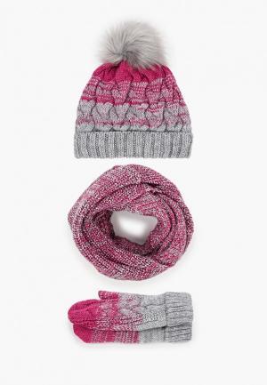Комплект TrendyAngel шапка, снуд и варежки. Цвет: разноцветный