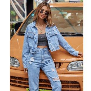 Короткая джинсовая куртка на пуговицах SHEIN. Цвет: легко-синий