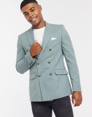 Шалфейно-зеленый двубортный пиджак приталенного кроя -Зеленый цвет Burton Menswear