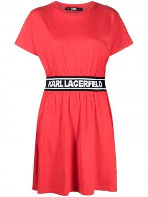 Платье-рубашка с логотипом Karl Lagerfeld. Цвет: красный