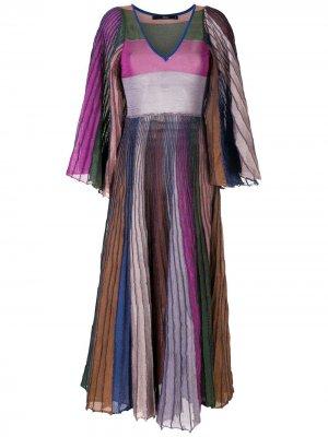 Плиссированное платье миди Eva. Цвет: разноцветный