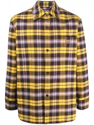 Клетчатая рубашка с нашивкой-логотипом Acne Studios. Цвет: желтый