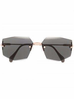Солнцезащитные очки в безободковой оправе Cazal. Цвет: черный