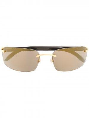 Солнцезащитные очки в прямоугольной оправе Cartier Eyewear. Цвет: черный
