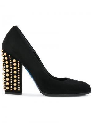 Туфли-лодочки с заклепками на каблуке Loriblu. Цвет: черный