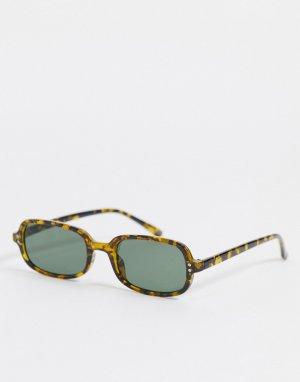 Квадратные солнцезащитные очки в черепаховой оправе цвета хаки с зелеными линзами -Зеленый цвет ASOS DESIGN