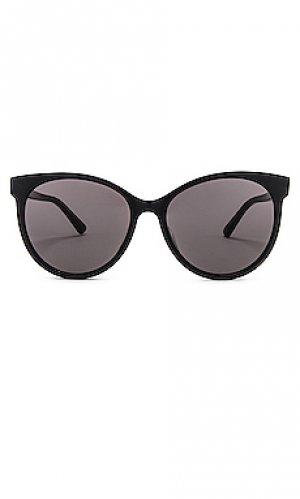 Солнцезащитные очки round Bottega Veneta. Цвет: черный