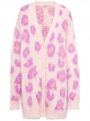 Кардиган оверсайз с леопардовым принтом Miu. Цвет: розовый