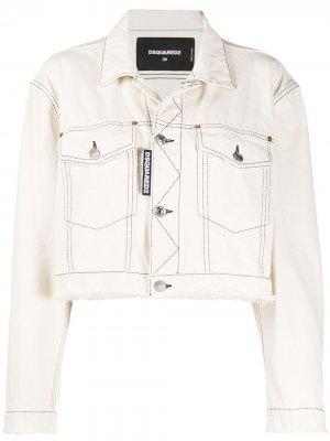 Укороченная джинсовая куртка Dsquared2. Цвет: белый