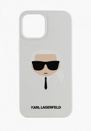 Чехол для iPhone Karl Lagerfeld 12/12 Pro (6.1), Liquid silicone Karls Head White. Цвет: белый