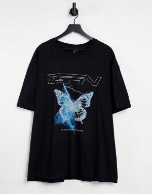 Черная oversized-футболка с принтом в виде бабочки и логотипом -Черный цвет Good For Nothing