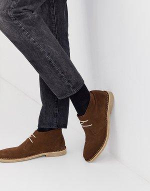Коричневые замшевые ботинки чукка -Коричневый цвет ASOS DESIGN