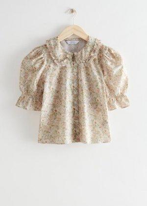 Блуза с объемными рукавами и цветочным принтом &Other Stories. Цвет: бежевый