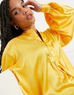 Желтая рубашка с защипами -Желтый Elvi