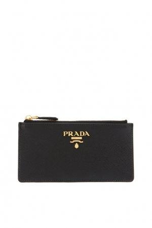 Черный кожаный футляр для документов Prada. Цвет: черный
