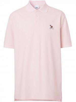 Рубашка-поло с аппликацией Burberry. Цвет: розовый